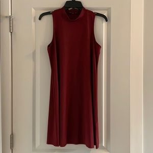 Mock Neck Suedette Dress